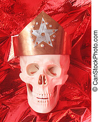 skull - A human silver skull with a crown from copper with a...