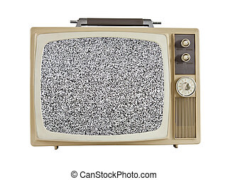 Vintage 1960s Portable Television with Static Screen -...