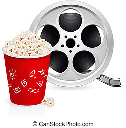 The film reel and popcorn Illustration on white background