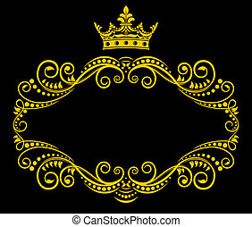 Retro frame with royal crown - Medieval frame with royal...