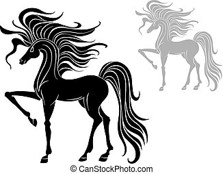 Wild stallion - Silhouette of black wild stallion isolated...