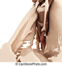 Cute woman in cream made in 3D