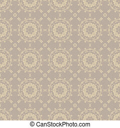 Seamless Medallion Pattern - Soft grey and beige medallions...