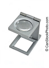 Alloys magnifying glass in isolated. - Isolated alloys...
