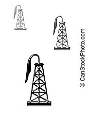 Oil Wells - Oil well derricks.