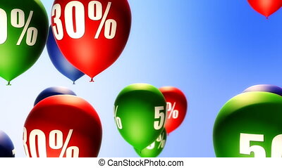 Balloons Sale Percents Loop - Balloons with percents symbols...
