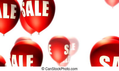 Balloons Sale Red on White Loop - Balloons with Sale text...