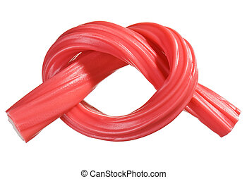 Red gummy candy (licorice) rope, isolated on white closeup...