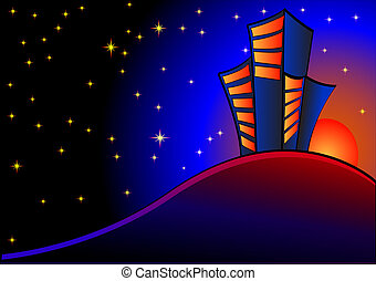 background with night sky and buildings at sundown