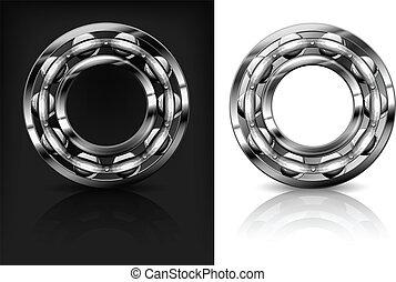 Metal roller bearings on white & black background, vector illustration