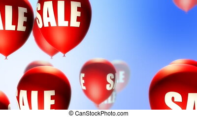 Balloons Sale Red on Blue (Loop) - Balloons with Sale text...