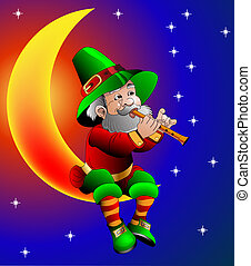 magician plays on flute sitting on moon in the night -...