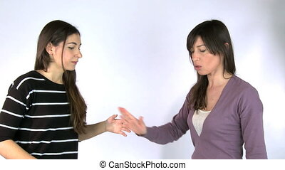 Girls arguing strongly - girls argue strongly getting angry