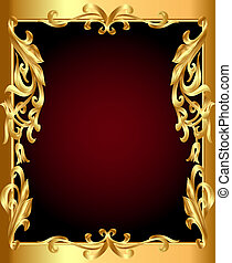 golden frame with golden vegetable ornament - illustration...