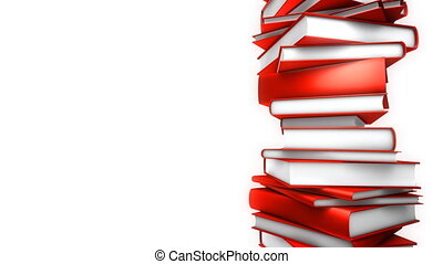 Red Books Stack - White (Loop) - Red Books piled. Seamless...
