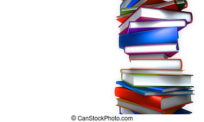 Colorful Books Stack - White (Loop) - Colorful books piled....