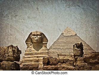 Vintage image of Sphynx and Cheops pyramid - Vintage image...