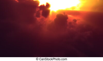 Sunset Clouds Flyby (Loop) - Fly over volumetric clouds at...