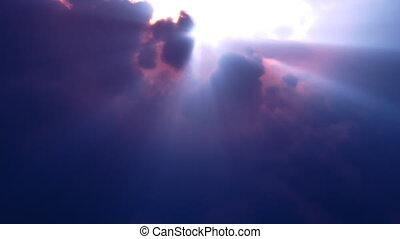 Blue Clouds Rays Flyby (Loop) - Fly over volumetric clouds...