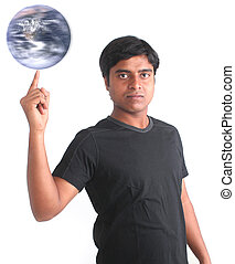 Young person spinning world on his fingertip