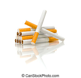 cigarette on a white background with reflection