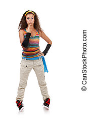 confused young woman - full length picture of a confused...