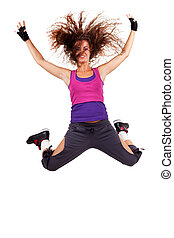 passionate woman dancer jumping