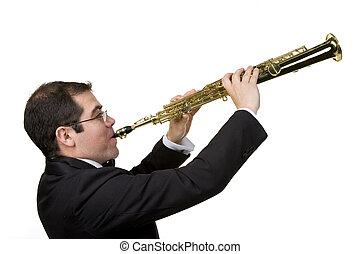 saxofone, jogador, isolado, branca