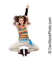 woman dancer jumping and poiting