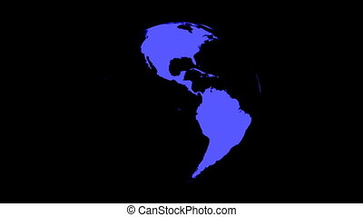 Globe Rotating on Black Loop - World map on globe rotating...