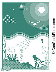 Waterscape - Vector illustration depicting the marine world