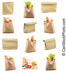 set of paper bag isolated - Set of a paper bag with food...