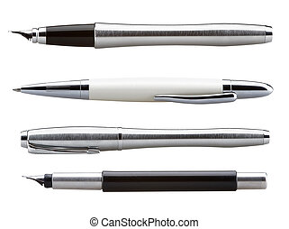 fountain pen isolated - set of a business fountain pens...