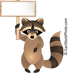 Raccoon with blank sign - Vector Illustration Of Raccoon...