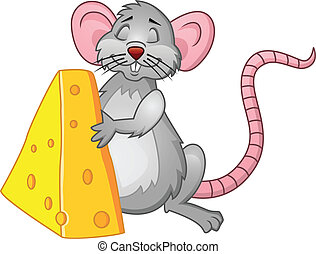 Funny rat with cheese - Vector Illustration Of Funny rat...