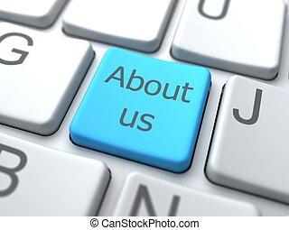 About Us-Blue Button on Keyboard. Social Media Concept.