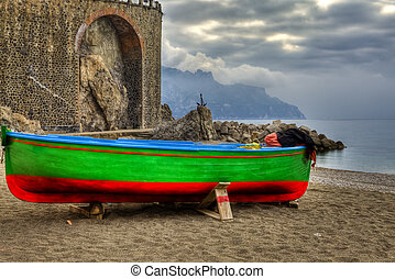 Boat in beach of Atrani SA Italy