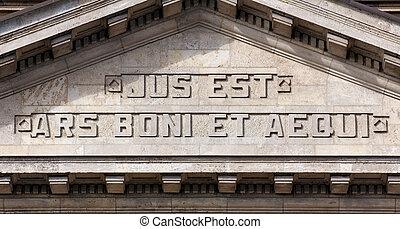 JUS EST ARS BONI ET AEQUI - The facade of the Hanseatisches...