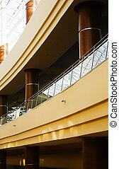 rounded balconies in an interior of modern office building