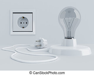lamp with light bulb and electric plug near electric socket