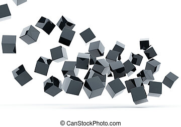 Falling and hitting gray metallic cubes on a white...