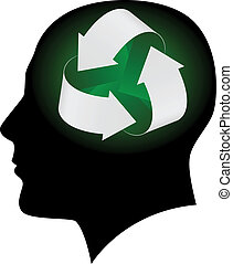 Ecology symbol in human head. Illustration on white...