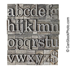 alphabet in grunge meta type - English alphabet lowercase...