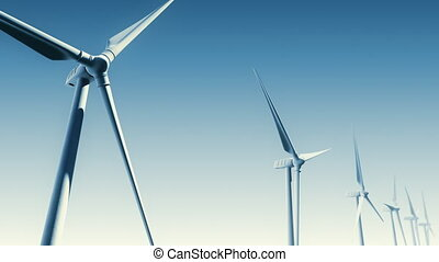 Wind Turbines on Blue Loop-Matte - Wind Turbines with aerial...