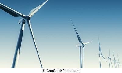 Wind Turbines on Blue (Loop-Matte) - Wind Turbines with...