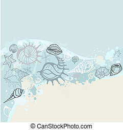 Sea background Hand drawn vector illustration - Grange Sea...