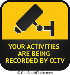 CCTV pictogram, video surveillance sign - Warning Sticker...