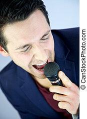 homem, cantando, paixão