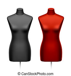 Female tailors dummy, mannequin. Vector illustration.