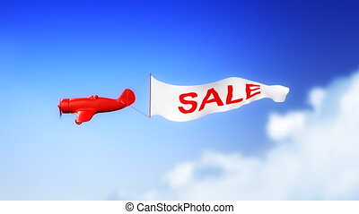 Sale Plane in Clouds (Loop) - Little plane with SALE text on...
